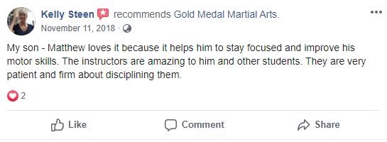 Kids Testimonial Gold Medal Martial Arts, Gold Medal Martial Arts in Santa Clarita CA